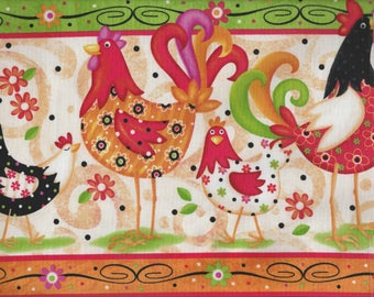 Pecking Order - Panel - Far Out Chickens! - Quilting Treasures - Victoria Hutto