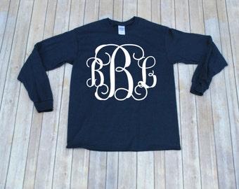 Sale!!! Long Sleeve Monogrammed Shirt, Monogram Shirt, Teen Christmas Gift, Women Shirt, Teen Monogram, Monogram Long Slee
