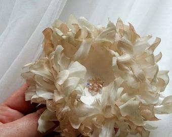Wedding Hair Flower, Bridal Hair Flower, Bridal Hair Piece, Wedding Hair Piece, Hair Accessories, Bridal Accessories,  Champagne Flower