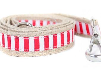 Dog collar / leash STRIPES RED