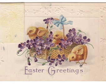 Antique 1912 Easter Greetings baby chicks in basket open up card victorian postcard