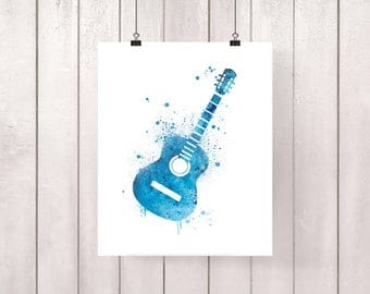 Guitar illustration, printed on professional paper, music instrument, original interior design art poster