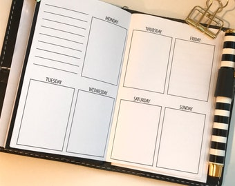 Week on 2 Pages Vertical Traveler's Notebook Planner Inserts | Pocket Size