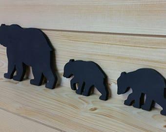 Bear Wall Art - Cut-Out Bear Wall Art - Bear Woodwork - Wooden Bear Silhouette - Animal Art - Bear Family Art - Black Bear Family