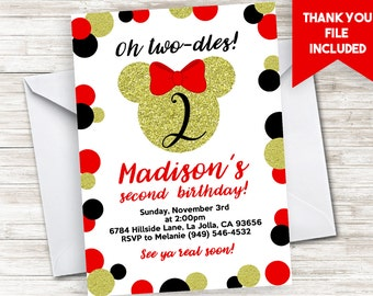 Minnie Invitation Birthday Invite Digital Two-dles Second ANY AGE Mouse Inspired Red Black Gold Glitter