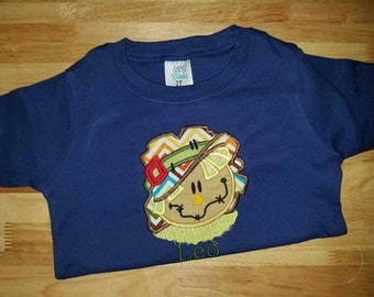Scarecrow Applique Shirt, Halloween Shirt, Thanksgiving Shirt, boys scarecrow shirt, boys thanksgiving, boys applique, scarecrow shirt