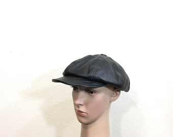 80's vintage leather newsboy cap black color made in usa size 7 1/4