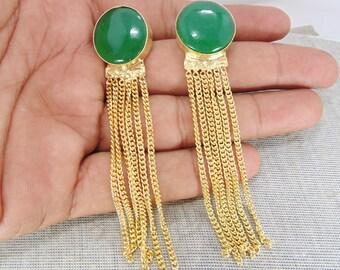 Natural Green Onyx Earrings - 18K Gold Plated Earrings - Party Wear Earrings - Bridal Earrings - Chandelier Earrings - Long Chain Earrings