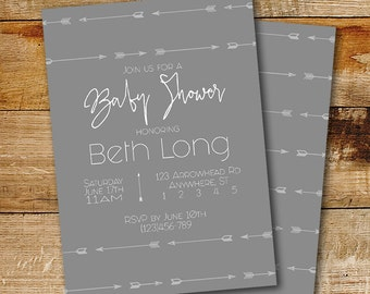 Gender Neutral Baby Shower Invitation | Hipster Arrows | Arrow Invitation |  Grey And White Baby