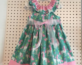 Unicorns, summer, dress in mint green and sparkly pink trim - size 3T ready, request 2T-4T