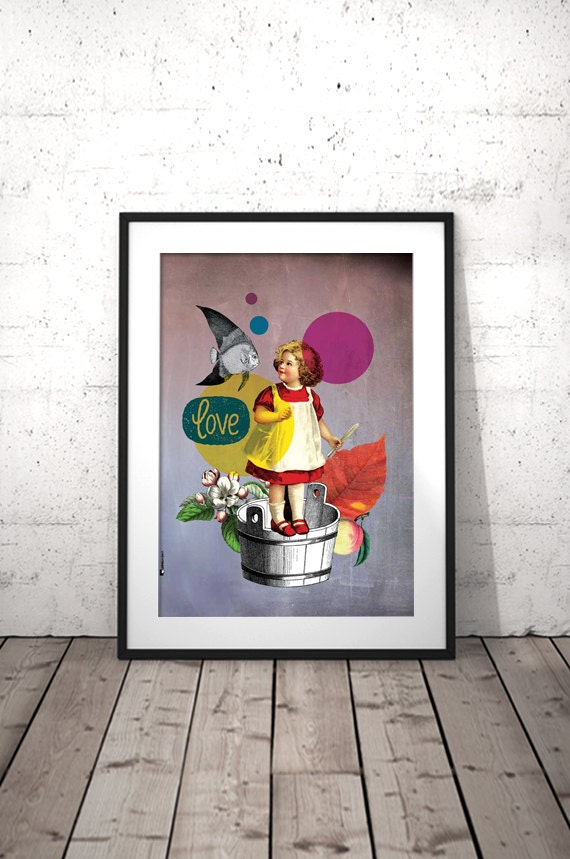 Kitchen wall art vintage girl art kitchen prints by for Art prints for kitchen wall