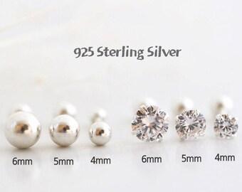 925 Sterling silver cartilage earring/Piercing/Tragus Earring/Cartilage piercing/helix piercing/conch /silver piercing/ cz stud earring