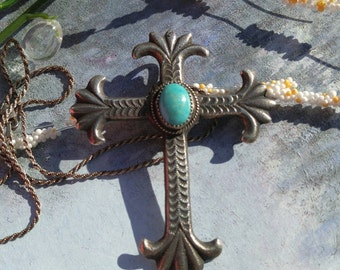 Native American jewelry - Navajo jewelry - Upcycled jewelry - Vintage necklace - Sterling necklace - Cross necklace - VJR369
