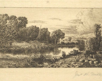 John H. Millspaugh Pencil Signed 19th Century Etching Susquehanna River New York c. 1889 Unmatted, Unframed