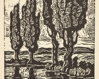 Excellent Birger Sandzen Original Block Signed Woodcut Brook with Poplars from Block Print Calendar 1936