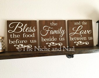 Bless The Food, The Family, The Love Between Us, Rustic Kitchen Home Decor, Kitchen Decor