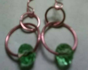 Artesian Copper and Green Crystal Dangle Earrings, One of a kind Handmade Jewelry made by an Artist in Upper Michigan