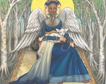 Empress Tarot Print - Hardy Tarot, Major Arcana, Empress Tarot, Queen, Angel Art, Woodland, Tarot Art, Tarot Poster, Moon, Wall Art