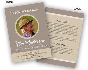 Funeral Program Template - Memorial Program Template - Photoshop PSD *INSTANT DOWNLOAD*