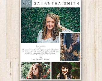 """7.5"""" x 10"""" Senior Yearbook Ad - Photoshop Template PSD *INSTANT DOWNLOAD"""