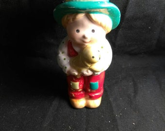 Holly Hobbie Little Boy Holding Little Puppy Vintage Ornament