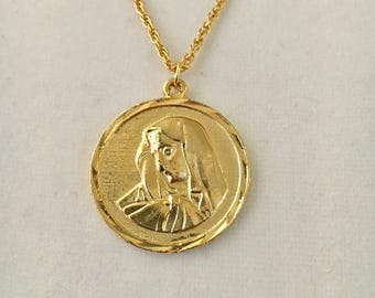 "Vintage Madonna religious medallion, Virgin Mary medallion, solid 1 1/4"" gold overlay pendant with a 24"" rope chain"
