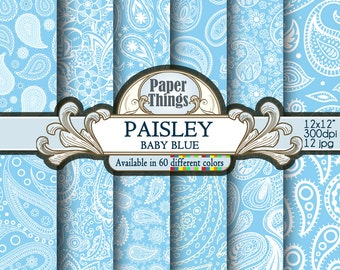 Blue Baby Paisley Digital Paper, Paisley Background, Blue Baby Digital Background, White & Blue Patterns Scrapbook Paper Instant Download