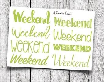 Green Weekend Planner Stickers