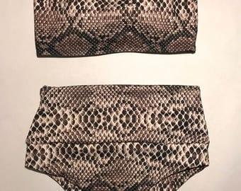 Snakeskin Bandeau Bikini Set// Highwaisted Cheeky bottoms with tummy control