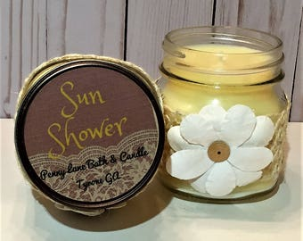 Sun Shower Candle – Soy/Paraffin Wax Blend – Hand Poured – 10oz Candle – Yellow Candle