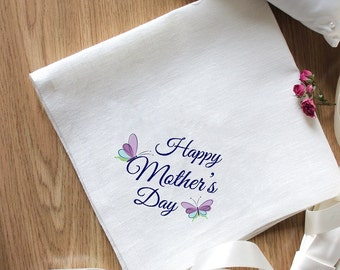 """Napkins """"Mother's Day"""" Beautiful Embroidery for Special Occasion Napkins Set of 2 Napkins Eco Friendly"""