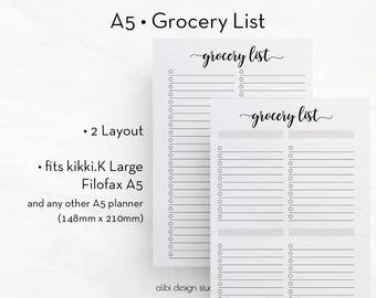 Grocery List, A5 Planner Inserts, Grocery List Printable, Shopping List , To Do List, A5 Planner, Printable Planner, Shopping Tracker