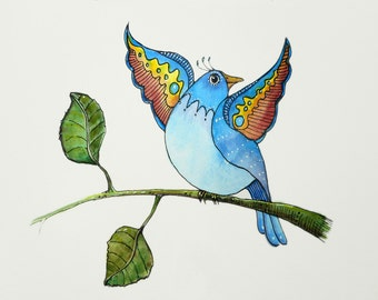 """Colorful Rainbow Whimsical """"Spread Your Wings"""" Original Watercolor Painting Watercolour Stylized Bird OOAK Painting Artsy Fun Happy Birdie"""