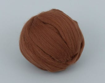 Caramel B177, 24mic, 1.78oz (50gr) tops merino wool,  for needle felting, wet felting, spinning. 100% wool.