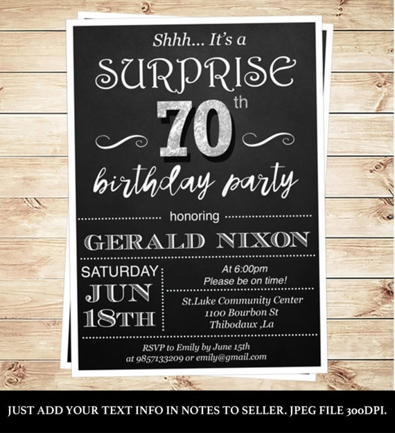 surprise 70 birthday party invitations by diypartyinvitation