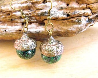 real acorn, woodland jewelry, autumn jewellery, organic tree, sparkly glitter, natural wood, dangle earrings, hippie boho, gift for her