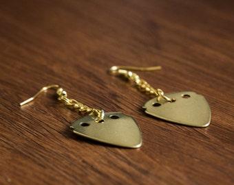 Guitar Pick Earrings (Gold)
