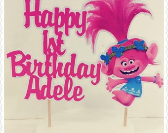 Trolls--Inexpensive Personalized Cake Toppers with Name & Character--Kid's Birthday Party Decorations