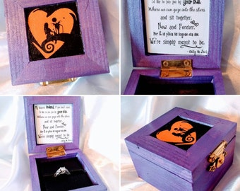 "Nightmare before Christmas ""We Were Simply Meant to Be"" Disneys Tim Burtons Jack & Sally inspired Engagement Ring Box. Ring not included."