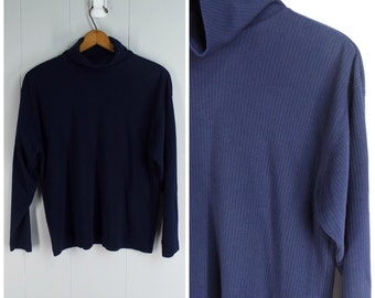 Vintage Womens 1990s Navy Blue Long Sleeve Ribbed Turtleneck Top | Size M/L