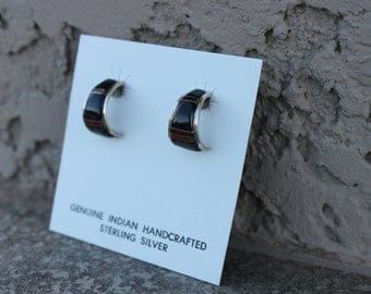 Black Onyx and Red Lapis Sterling Silver Earrings