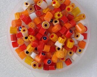 SALE!!! MURANO glass MURRINI - Murrini chips Coe 104 - Millefiori slices -  dark red murrini mix - star, flower and cercle patterns - opaque