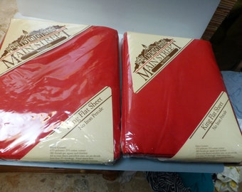 2 king flat red sheets new in package