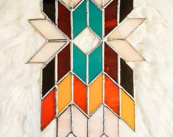 Geometric Wall Art, Abstract Art, Stained Glass Panel, Tiffany, Suncatcher, Mid Century Modern, Art Deco, Boho, Tribal, Aztec, Feathers