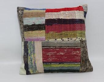 Chic Kilim Pillow Throw Kilim Pillow 20x20 Turkish Patchwork Kilim Pillow Ethnic Pillow Bed Pillow Throw Pillow SP5050-1268