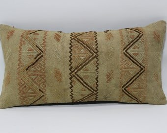 Handwoven Kilim Pillow Sofa Pillow Ethnic Pillow Fllor Pillow Fllor Pillow 12x24 Decorative Kilim Pillow Home Decor Cushion Cover SP3060-743