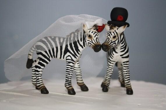 Zebra wedding cake topper animal bride and groom black and like this item junglespirit Images