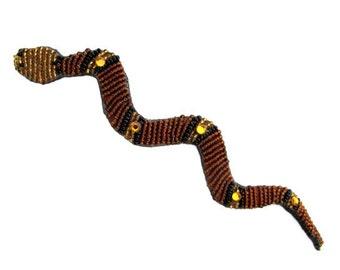 Vintage Mary B Hetz Beaded Snake Serpent Brooch Pin