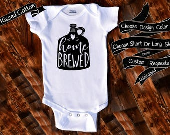 Baby Onesie Home Brewed onesie Gift Nursery Custom Clothing Infant Gerber Baby Bodysuit {K238}