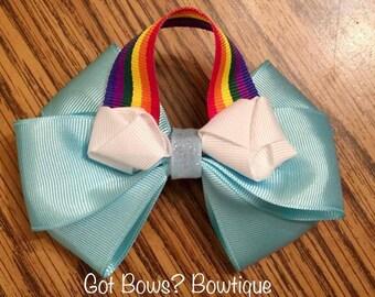 Somewhere Over the Rainbow Hair Clip Bow